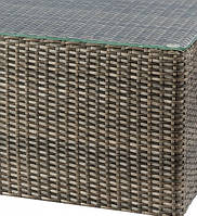 Стеклянная столешница с каленного стекла для журнального столика 500x500  из искусственного ротанга Kombo