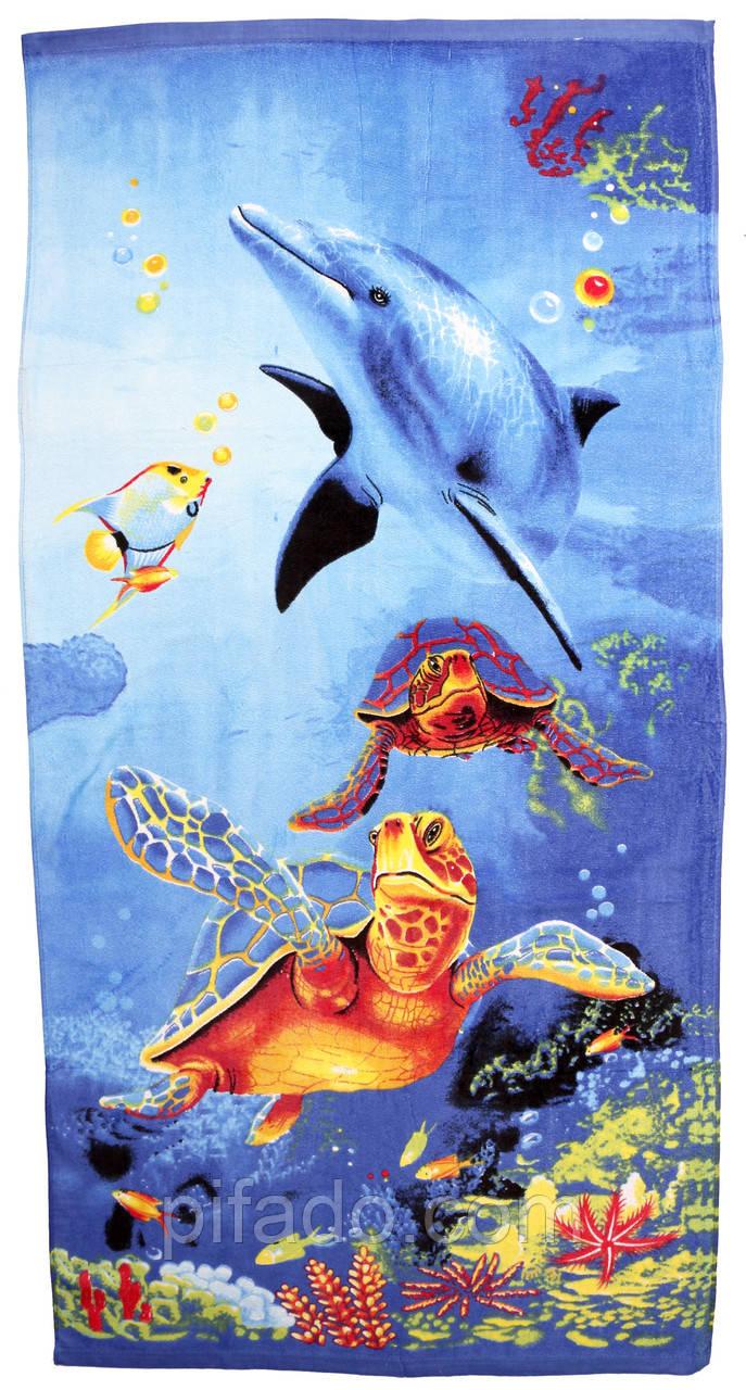 Пляжний рушник Дельфін (велюр-махра) 70х140. Код 1615-700