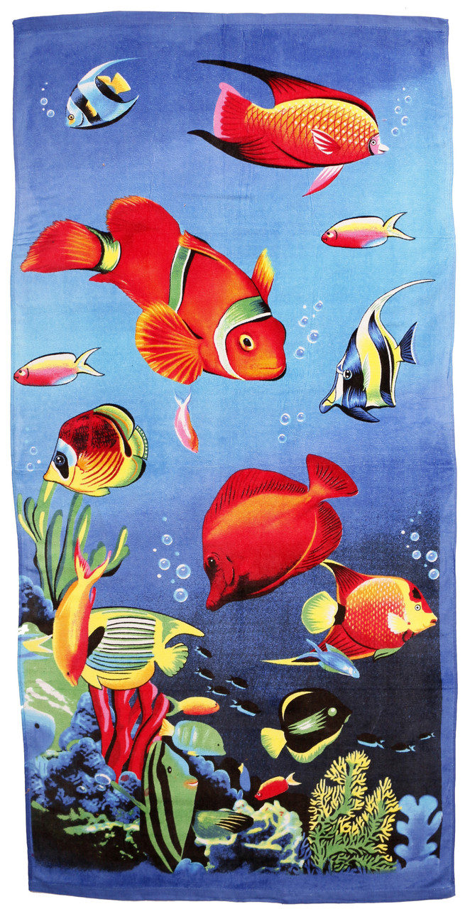 Пляжное полотенце Рыбки (велюр-махра) 70х140