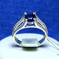 Серебряное кольцо с синим цирконом кс 821сап