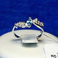 Кольцо серебряное с голубым камнем кс 827г, фото 1