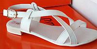 Босоножки женские кожаные на плоской подошве, летние босоножки от производителя модель ЛА32