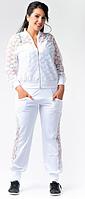 Женский спортивный костюм большого размера с гипюровыми вставками.Куртка на молнии