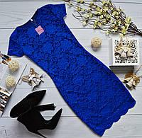 Синее гипюровое платье  с короткими рукавами