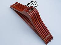 Плечики вешалки  тремпеля деревянные коричневого цвета, длина 44,5 см, в упаковке 6 штук
