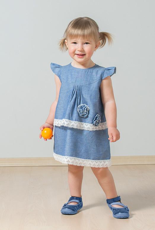 Платье с кружевом (хлопок деним) 1 — 3 года