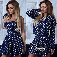 Очень стильное платье с пиджаком , ткань джинс, цвет только такой супер качество псав № 5385