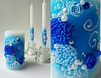 Набор свадебных свечей С-712 (синий)