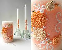 Набор свадебных свечей С-713 (персиковый)