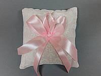 Подушечка для колец розовая с кружевом