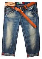 Бриджи джинсовые женские L8532A потертости (лето)