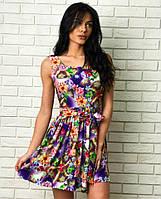 """Летнее шёлковое платье в цветочек """"Кокетка"""" с расклешенной юбкой (2 цвета)"""