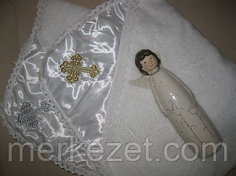 Крыжма. Махровое полотенце, покрывало для крещения. Крижмо «Золотой Ефир». Крещение ребенка