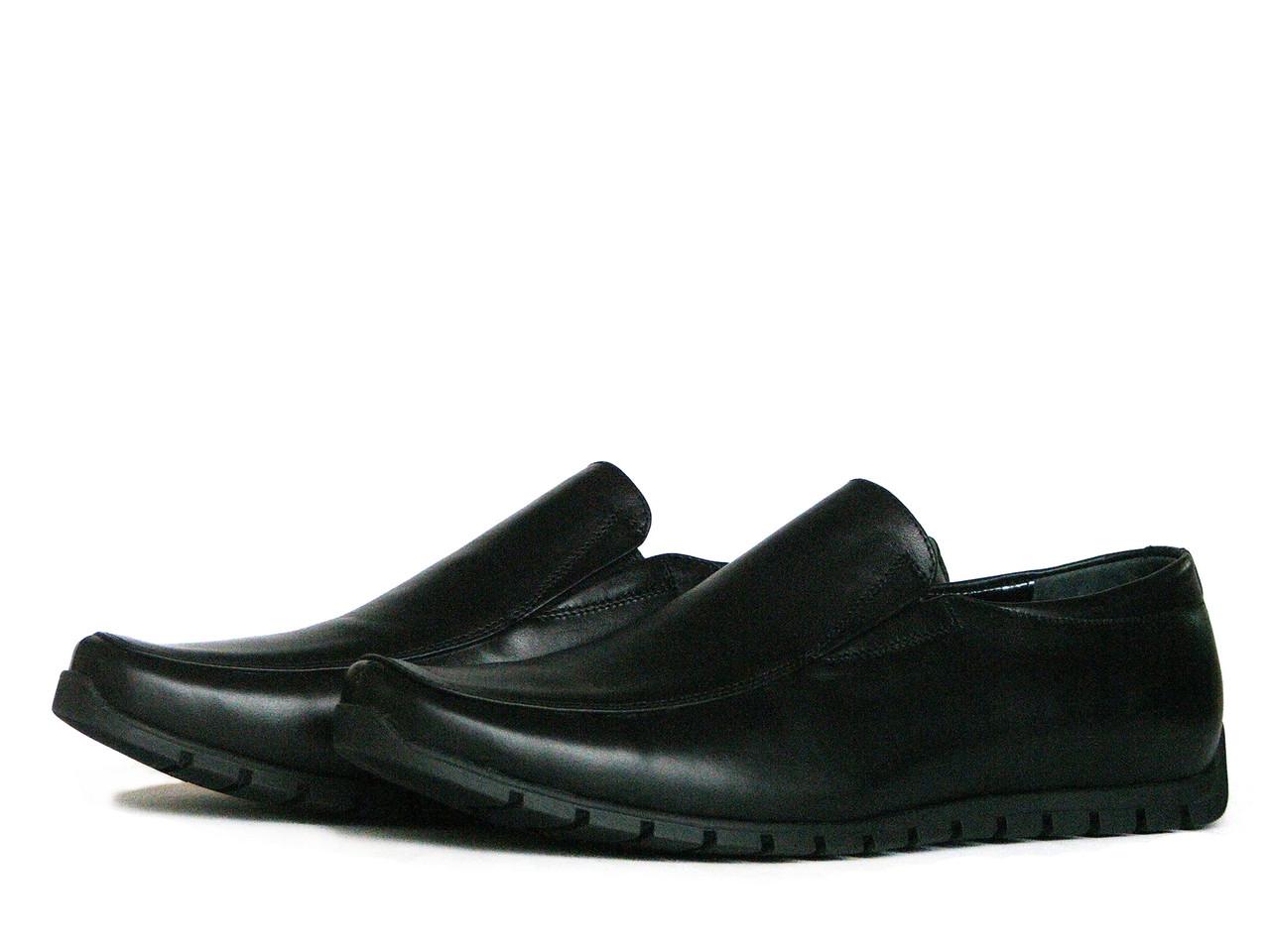 Мужские черные кожаные мокасины с резинками