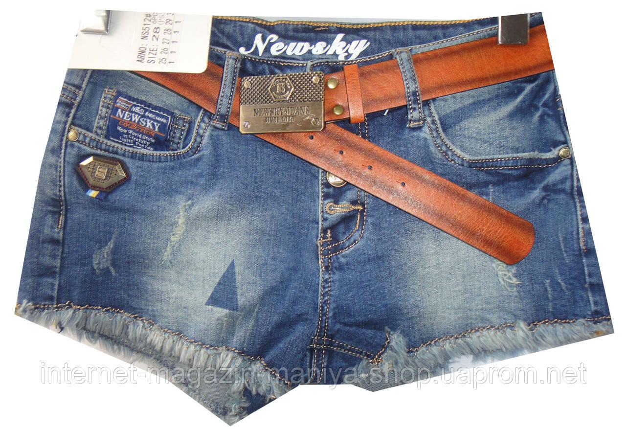Шорты джинсовые женские NS512 потертости (лето)