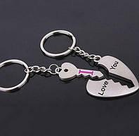 Брелки для влюблённых в виде сердца и ключа в нём (выемка в сердце под ключ) металл SKU0000734