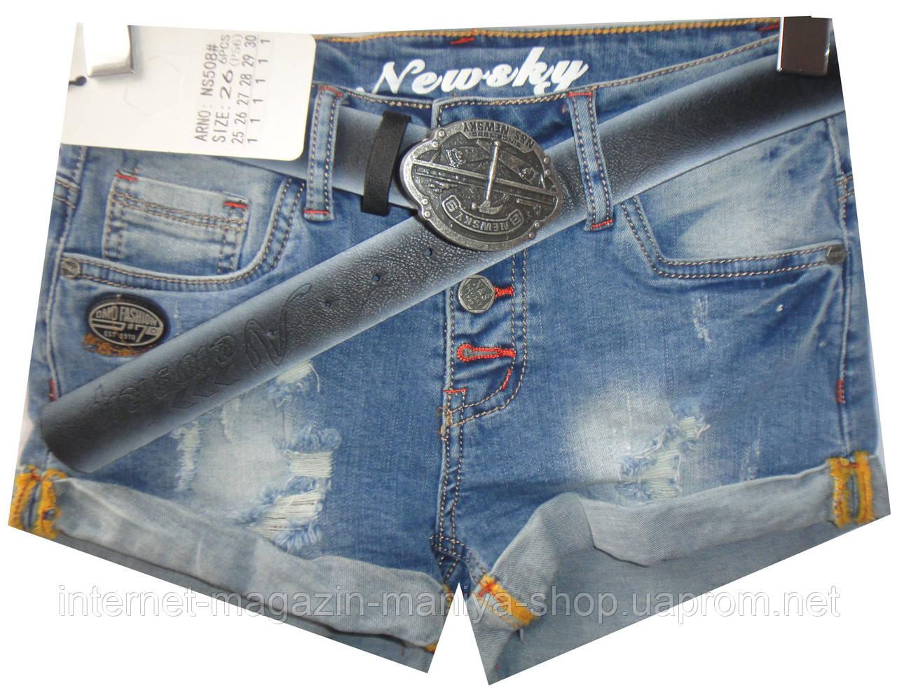 Шорты джинсовые женские NS508 потертости (лето)