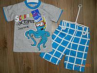 Прикольный летний костюмчик для мальчика накатом на футболке на рост 92 см, на рост 98 см