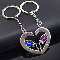 Брелки для влюблённых в виде половинок сердца с розой на каждом (металл) SKU0000735