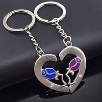 Брелки для закоханих у вигляді половинок серця з трояндою на кожному (метал) SKU0000735
