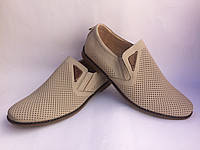 Летные мужские кожаные туфли цвета беж