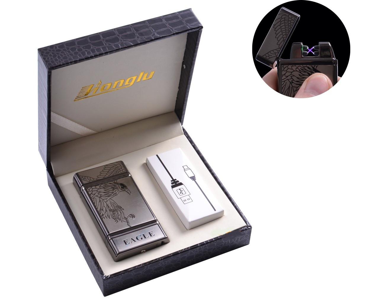 """Электроимпульсная USB - зажигалка в подарочной кожаной коробке """"EAGLE"""""""