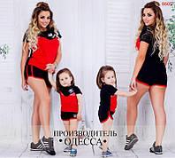 """Костюм спортивный детский лого  """"Adidas"""", футболка и шорты, мама и дочка"""