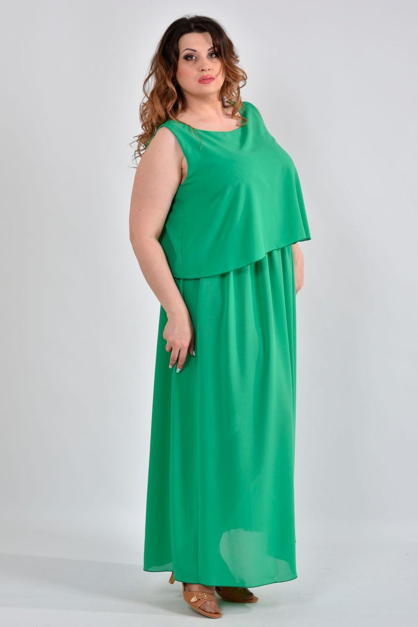 17814305c6fa1dd Шифоновое платье больших размеров 0532 зеленое, цена 540 грн., купить в  Харькове — Prom.ua (ID#540910474)