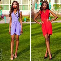 Элегантное летнее платье-запах с оригинальной драпировкой по лифу и по юбке (разные цвета)