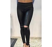 Женские лосины леггинсы, кожаные + дайвинг, эластичные / Черные женские лосины, красивые