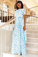 Шикарное летнее платье в пол лен на органзе (3 расцветки)