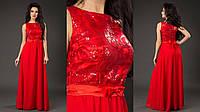 Вечернее платье декорированное вышивкой и пайетками (4 цвета)