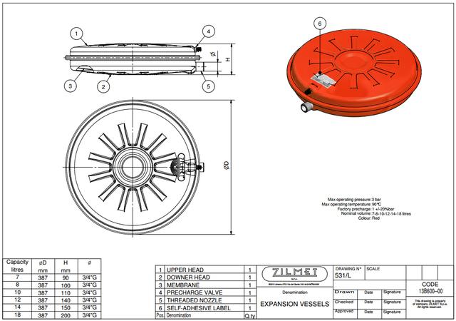 Расширительный бак ZILMET OEM–Pro 531/L 12 литров размеры