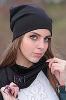 Женская ШАПКА + ШАРФ набор! демисезон, из двойного трикотажа / женская модная шапка с шарфиком, 2017, черная