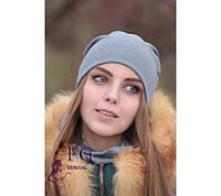 Женская ШАПКА + ШАРФ набор! демисезон, из двойного трикотажа / женская модная шапка с шарфиком, 2017, графит