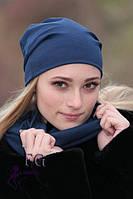 Женская ШАПКА + ШАРФ набор! демисезон, из двойного трикотажа / женская модная шапка с шарфиком, темно-синий