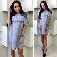 Женское летнее платье с воланом лен