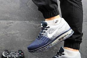 Кроссовки Nike Flyknit Max серые с синим, летние,сетка 40р, фото 3