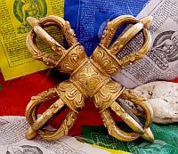 Ваджра бронзовая крестовая 6-ти лепестковая (24х24х7 см)