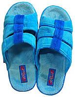 Женские голубые тапочки, анатомическая подошва с открытым носком