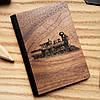 """Деревянная обложка для паспорта """"Паровоз"""""""