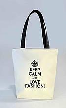 """Женская сумка """"Keep calm"""" Б301 - белая c черными ручками - Рапродажа"""