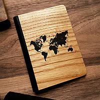 """Деревянная обложка для паспорта """"Карта Мира"""""""