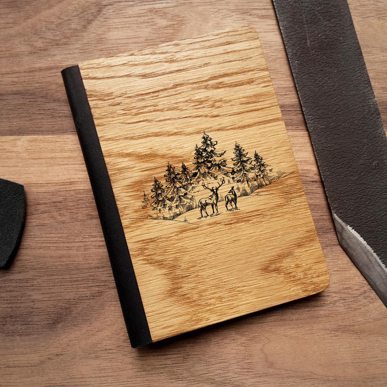"""Деревянная обложка для паспорта """"Олени"""", фото 1"""