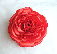 """Брошь из ткани ручной работы """"Красная роза"""""""