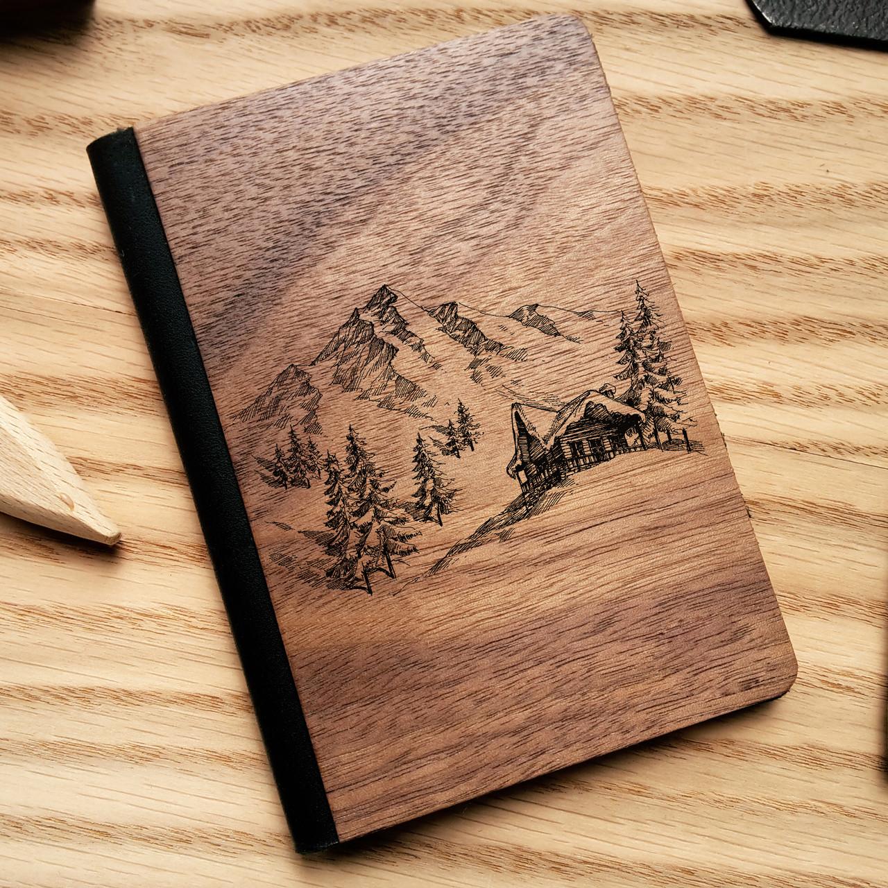 """Деревянная обложка для паспорта """"Горы"""", фото 1"""