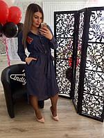 Женское  батальное джинсовое  платье с нашивкой рр от 48 до 54