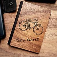 """Деревянная обложка для паспорта """"Давай путешествовать"""""""