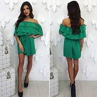 Женское свободное платье с рюшами