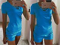 Костюм летний футболка и шорты с оригинальным переплетом в районе бюста и бедра